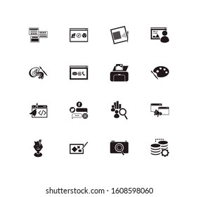 Website icon set and print with creative process, browser compatibility and wire framing. Innovation related website icon vector for web UI logo design.