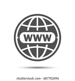 Website icon world globe, www flat icon go to web sign