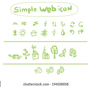 Website icons with environmental eco theme, vector illustration