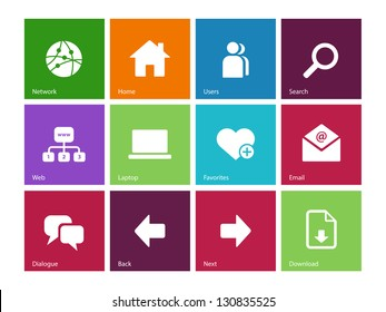 Website icons on color background. Vector illustration.