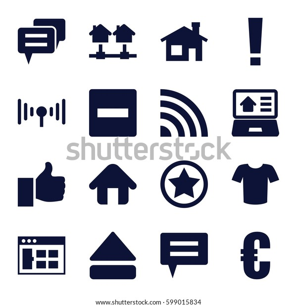 website icons set. Set of 16 website filled icons such as house building, T-shirt, eject button, home, real estate on laptop, signal, rank, thumb up, chat, euro