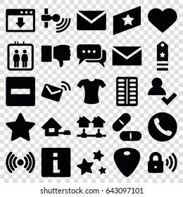Website icons set. set of 25 website filled icons such as elevator, t-shirt, mail, pill, heart, star, guitar mediator, security lock, home, chat, rank, call, minus, dislike