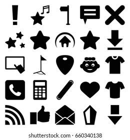 Website icons set. set of 25 website filled icons such as baby girl, star, finger on tablet, t-shirt, heart, envelope, bandage, guitar mediator, favorite music, download, call
