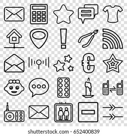 Website icons set. set of 25 website outline icons such as elevator, baby girl, woman in spa, star, t-shirt, pill, radio, connected phone, envelope, guitar mediator, mail