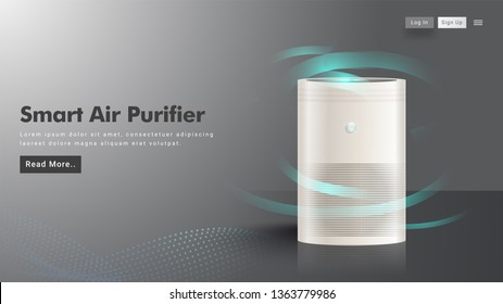Website image or landing page design with smart air purifier machine.