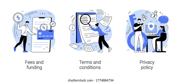 Website information page abstract concept vector illustration set. Fees and funding, terms and conditions, privacy policy, service cost, subscription fee, website menu bar, UI, UX abstract metaphor.