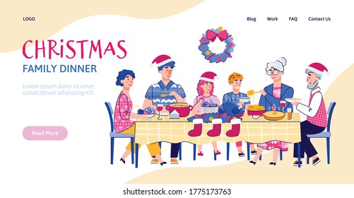 Website interface mockup with scene of family Christmas festive dinner together, cartoon vector illustration. Landing page for Christmas and New Year holidays. - Shutterstock ID 1775173763