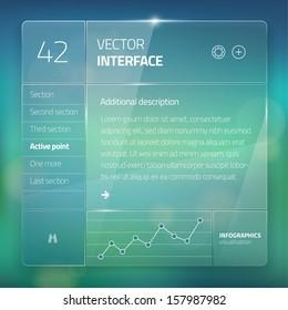 Website interface template design. Transparent user interface, ui buttons.