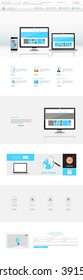 Website interface template- one page. Modern futuristic style. Vector