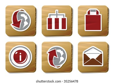 Website and Internet icons. Vector icon set. Three color icons on cardboard tags.