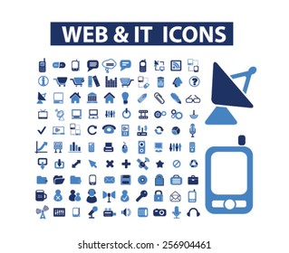 website, internet, media, computer, mobile isolated icons, signs, illustrations concept set on background. vector