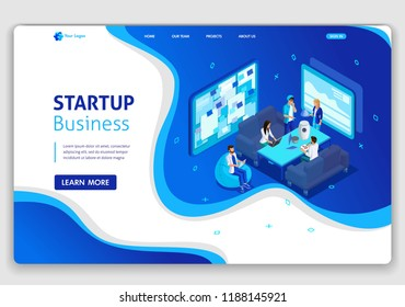 Website Isometric Landing page concept of Startup your project for website and mobile website. Easy to edit and customize.