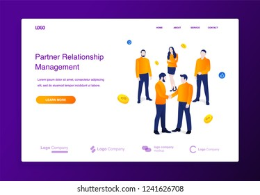 Website or landing page of businessmen shaking hands. Relations of partners in business concept illustration