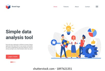 Website landing page design with flat business analyst character working on laptop, analyzing digital graph diagram or chart of financial database report. Simple data analysis tool vector illustration