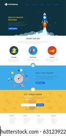 Website Landing page design vector template Flat style. Webdesign flat with icons