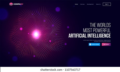 Website landing page with illustration of spiral shaped halftone effect for Artificial Intelligent (AI) learning concept.