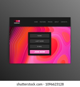 Website landing page mockup design. Vector illustration. Business site layout template. Homepage prototype with abstract liquid gradient background