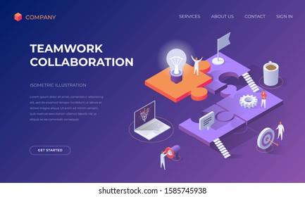 Website landing page, promotion poster, flyer or brochure concept for business teamwork collaboration, isometric vector illustration