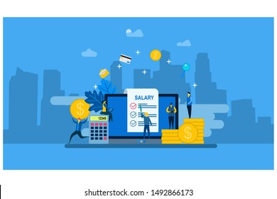 Website or landing page vector. Payroll, Salary payment with Tiny People Character Concept Vector Illustration, Suitable For web landing page,Wallpaper, Background, Card, banner,Book Illustration