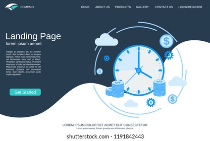 Website landing page vector template. Abstract geometric style background with time is money concept illustration