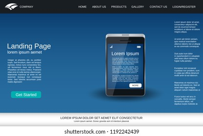 Website landing page vector template. Blue vector background with smartphone realistic icon for webpage and application