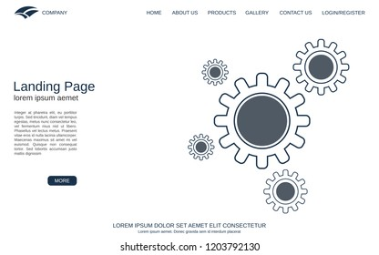 Website landing page vector template. Abstract minimalistic design for webpage, banner and application
