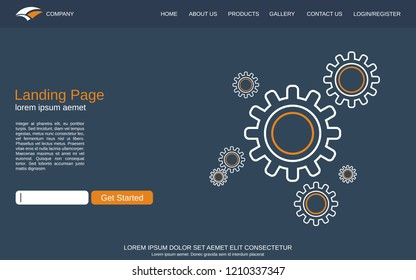 Website landing page vector template. Background with abstract cogwheels thin line illustration