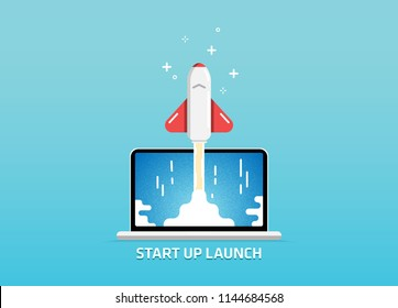 Website Launch Start Up Project Goes Live Alfa Beta Version Splash Screen Illustration Vector Art Design Background