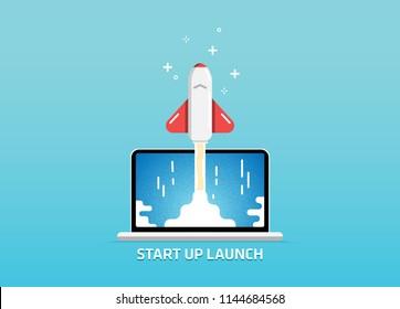 Website Launch Start Up Project Goes Live Alfa Beta Version Splash Screen Illustration Vector Art Design Background
