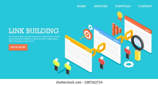 Website link building, SEO backlink, conceptual 3D, isometric flat design banner with icons and texts