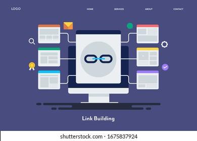 Website-Linkaufbau, Strategie für den Linkaufbau, SEO-Backlinks - konzeptionelle Vektorgrafik mit Symbolen, Vorlage für die Landung