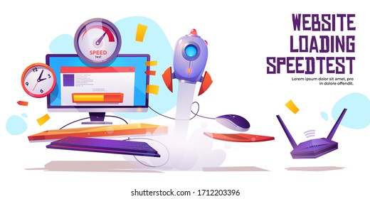 Website loading speed test banner. Internet site quick traffic optimization engine plugin testing. Computer desktop with web page, speedometer, clock, wifi router and rocket Cartoon vector poster
