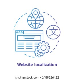 Website localization blue concept icon. Website translation idea thin line illustration. Launch & manage multilingual webpage, international SEO. Vector isolated outline drawing. Editable stroke
