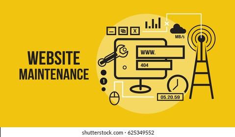 Website Onderhoud Vector illustratie Flat Design