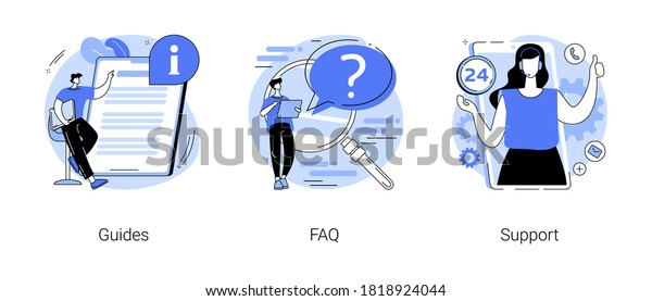 Website menu bar abstract concept vector illustration set. Guides, FAQ and support landing page sections. Company information, user interface, UI element, customer help, contact us abstract metaphor.