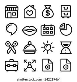 Website menu navigation line icons - online shop, web page