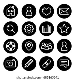 Website menu navigation round line icons - home, search, email, gallery, blog