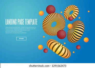Website or mobile app landing page with illustration of 3d abstract shapes and torus. Minimal geometric background.