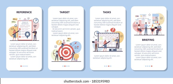 Website mobile application banner set. Process of website development, constructing interface and creating content. Term of references, targeting and tasks planning, Isolated flat vector illustration