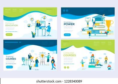 Website and mobile website development illustration concepts. Set of web page design templates for consulting, training, distance education, language courses. Modern vector web page