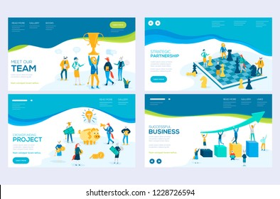 Website and mobile website development illustration concepts. Set of web page design templates for our team, meeting and brainstorming, business success, strategic partnership, crowdfunding. Modern ve
