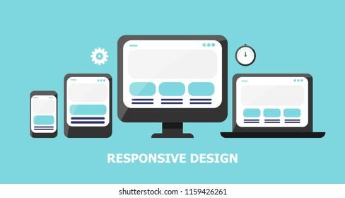 Website, mobile, laptop and tablet, responsive design illustration on light background