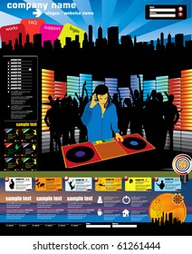 Website music vector template