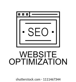 website optimization line icon. Element of seo and web optimization icon with name for mobile concept and web apps. Thin line website optimization line icon can be used for web on white background