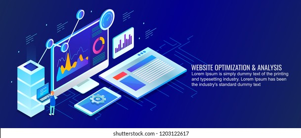 Website optimization, web analysis, digital marketing strategy flat design isometric banner with icons and texts
