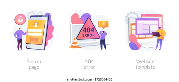 Website page interface abstract concept vector illustration set. Sign in page, 404 error, website template, user login form, UI, new account registration, landing page, web design abstract metaphor.