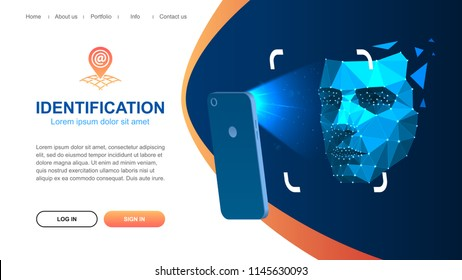 Website page layout. Identification of a person through the system of recognition of a human face. The smartphone scans the person's face. Vector illustration.
