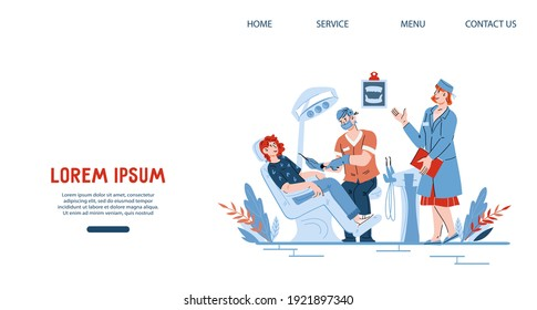 Website page template for dental clinic with characters of dentists and their patient in dental care office, cartoon vector illustration. Web banner mockup for dentistry and stomatology.