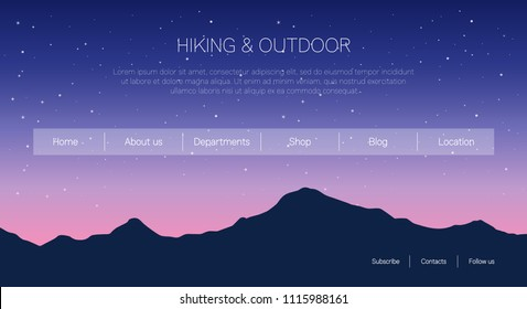 Website page template with mountains background. Vector illustration. Travelling and environment concept.