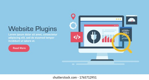 Website plugin concept, Plugin for CMS website, SEO plugin for marketing - conceptual vector banner illustration with icons and texts